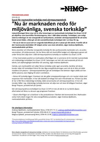 """""""Marknaden redo för miljövänliga, svenska torkskåp"""" - Succé för nyutvecklat torkskåp med värmepumpsteknik"""