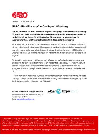 GARO AB ställer ut på e-Car Expo i Göteborg