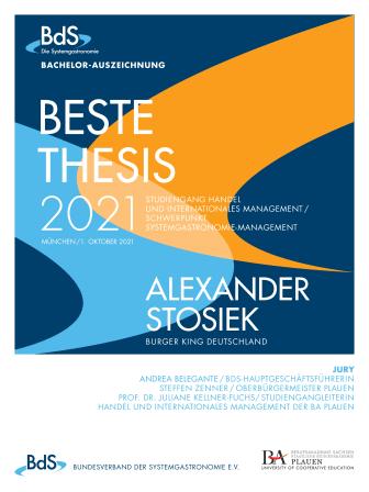 BdS-Auszeichnung: Beste Abschlussarbeit