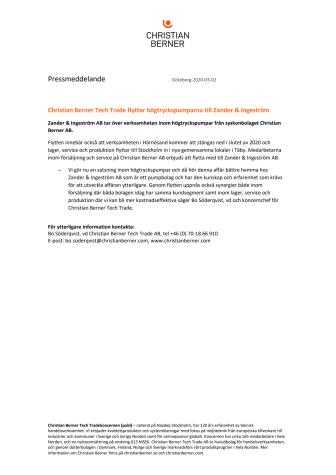 Christian Berner Tech Trade flyttar högtryckspumparna till Zander & Ingeström