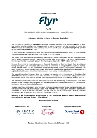 Flyr AS – Publication of Information Document