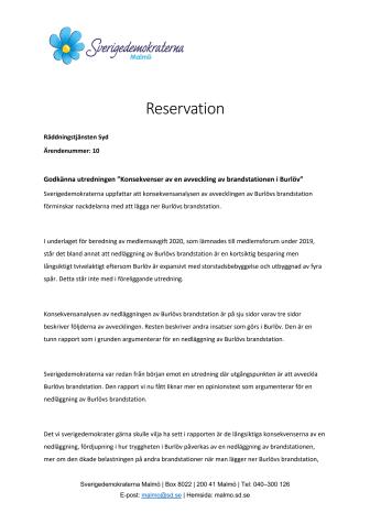 SD underkänner utredning om avveckling av Burlövs brandstation