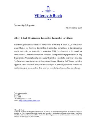 Villeroy & Boch AG : démission du président du conseil de surveillance