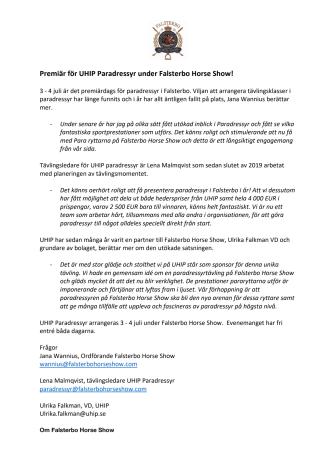 Premiär för UHIP Paradressyr under Falsterbo Horse Show!