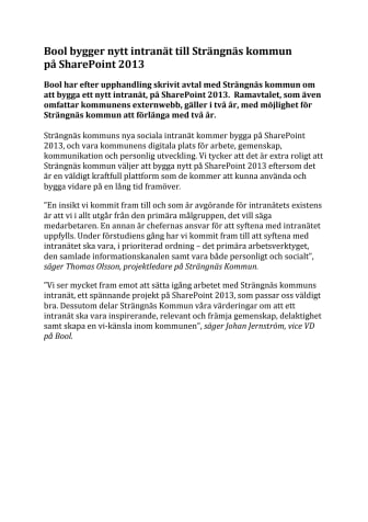 Bool bygger nytt intranät till Strängnäs kommun på SharePoint 2013
