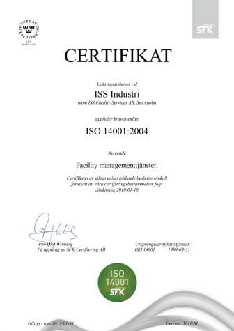 ISO 14001 certifikat ISS Industri