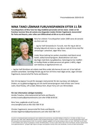 Nina Tano lämnar Furuviksparken efter 11 år