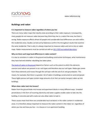 Radon and Buildings - Summary