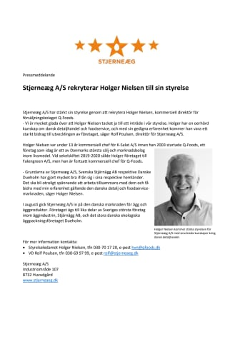 Stjerneæg A/S rekryterar Holger Nielsen till sin styrelse