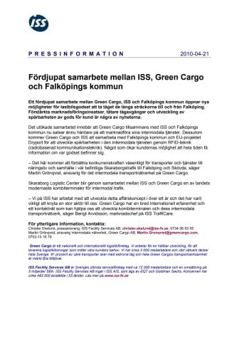 Fördjupat samarbete mellan ISS, Green Cargo och Falköpings kommun