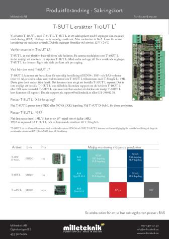 Produktförändring, säkringskort: T-8UT L ersätter T10UT L*