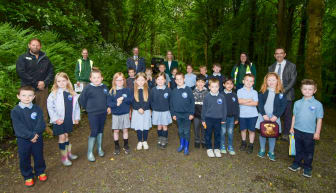 Mayor joined by Jim Marshall of the Forest Service, Lady Dunluce, Barry Corr (Principal) and pupils from Seaview Primary School