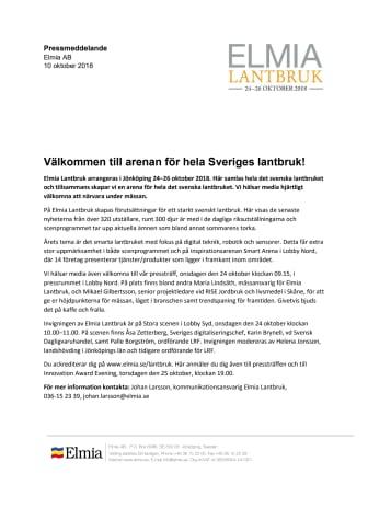 Pressinbjudan: Välkommen till arenan för hela Sveriges lantbruk!