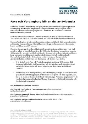 Faxe och Vordingborg blir en del av Evidensia