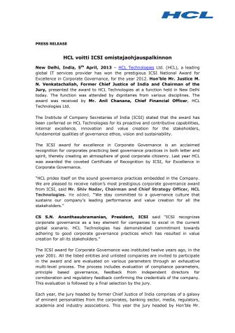 HCL voitti ICSI omistajaohjauspalkinnon