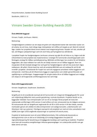 Årets vinnare i Sweden Green Building Awards