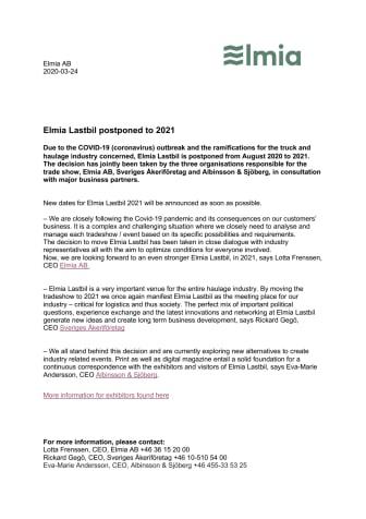 Elmia Lastbil postponed to 2021