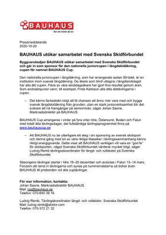 BAUHAUS utökar samarbetet med Svenska Skidförbundet