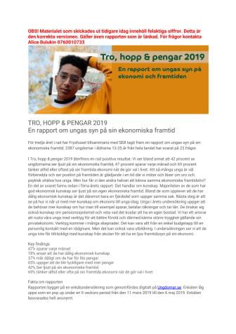 Rapportsläpp: Tro, hopp & pengar 2019