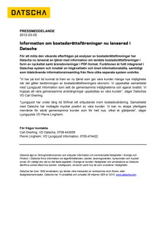 Information om bostadsrättsföreningar nu lanserad i Datscha