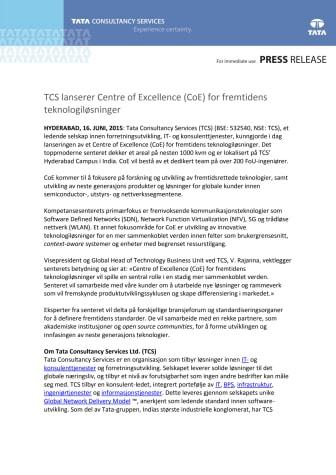 TCS lanserer Centre of Excellence (CoE) for fremtidens teknologiløsninger