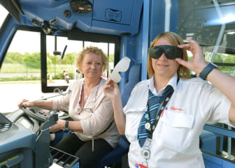 Dawn Ferguson who is registered blind and a rehab worker for Sight Service in Gateshead with Go North East driver, Natasha Tanner