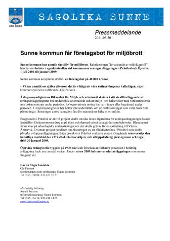Sunne kommun får företagsbot för miljöbrott