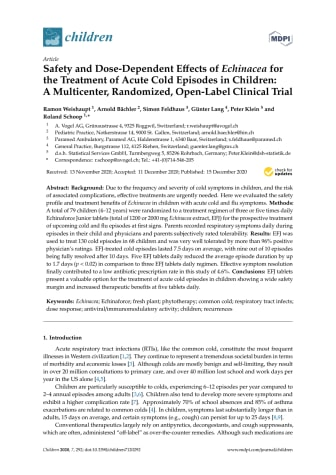 Safety and Dose-Dependent Effects of Echinacea for the Treatment of Acute Cold Episodes in Children: A Multicenter, Randomized, Open-Label Clinical Trial