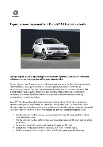 Tiguan scorer topkarakter i Euro NCAP test