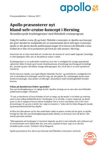 Apollo præsenterer nyt  bland-selv-cruise-koncept i Herning