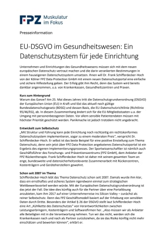EU-DSGVO im Gesundheitswesen: Ein Datenschutzsystem für jede Einrichtung