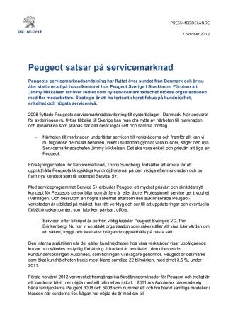 Peugeot satsar på servicemarknad