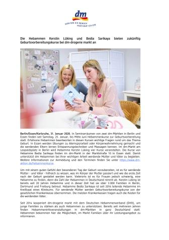 Die Hebammen Kerstin Lüking und Bedia Sarikaya bieten zukünftig Geburtsvorbereitungskurse bei dm-drogerie markt an