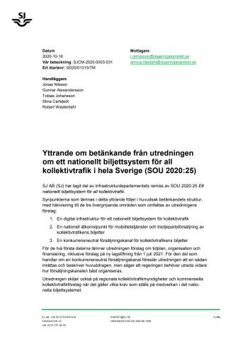 Yttrande om betänkande från utredningen om ett nationellt biljettsystem för all kollektivtrafik i hela Sverige (SOU 2020:25)