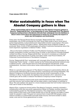 Water sustainability in focus when The Absolut Company gathers in Åhus