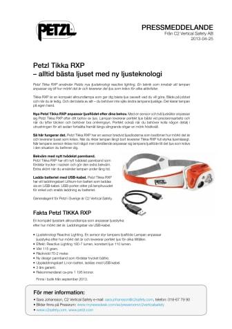 Petzl Tikka RXP – alltid bästa ljuset med ny ljusteknologi