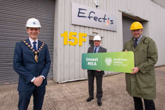 Mayor Cllr Peter Johnston; Lab Manager Efectis UK and Ireland, Maurice McKee and Timothy Brundle , Director of Research and Impact at Ulster University