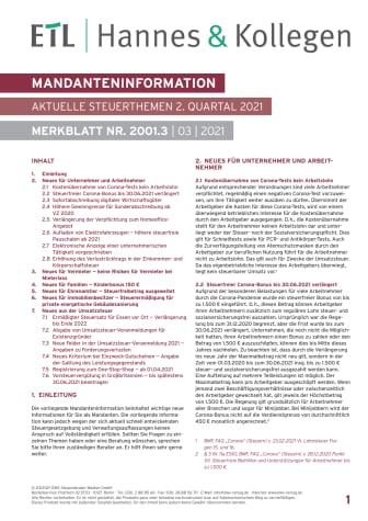 Mandanteninformation: aktuelle Steuerthemen im 2. Quartal 2021