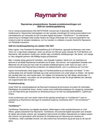 Raymarines presskonferens: Senaste produktutvecklingen och  2020 års handelsuppdatering