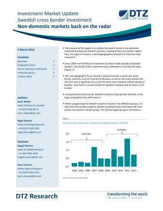 Investment Market Update - Swedish cross border investment