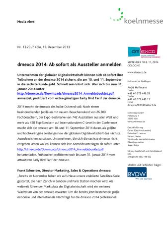 dmexco 2014: Ab sofort als Aussteller anmelden
