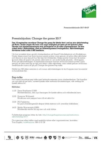 Pressinbjudan: Change the game 2017