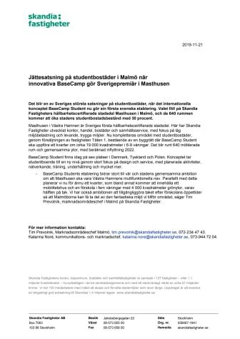 Jättesatsning på studentbostäder i Malmö när  innovativa BaseCamp gör Sverigepremiär i Masthusen