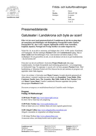 Gatuteater i Landskrona och byte av scen!