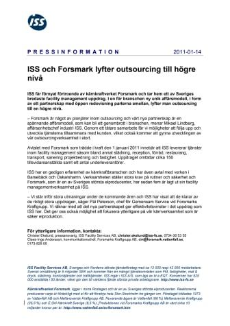 ISS och Forsmark lyfter outsourcing till högre nivå