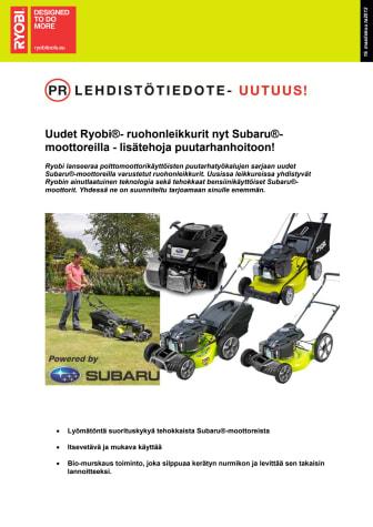 Uudet Ryobi®- ruohonleikkurit nyt Subaru®- moottoreilla - lisätehoja puutarhanhoitoon!