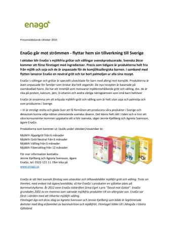 EnaGo går mot strömmen - flyttar hem sin tillverkning till Sverige