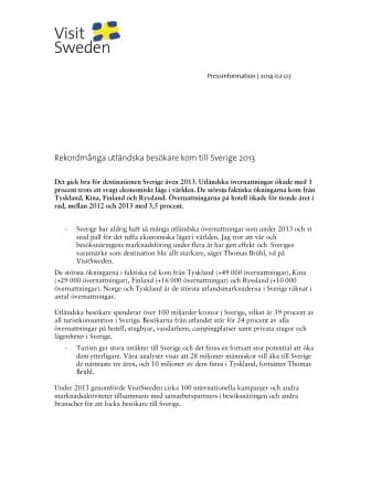 Rekordmånga utländska besökare kom till Sverige 2013