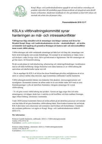 KSLA:s viltförvaltningskommitté synar hanteringen av mål- och intressekonflikter
