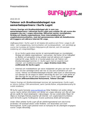 Telenor och Bredbandsbolaget nya samarbetspartners i Surfa Lugnt